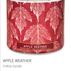 Apple weather bath & body works 3 wick candle